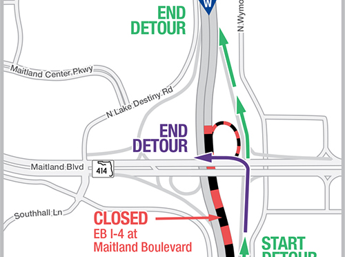 Eastbound I-4 Nighttime Traffic Diverted on May 2-5
